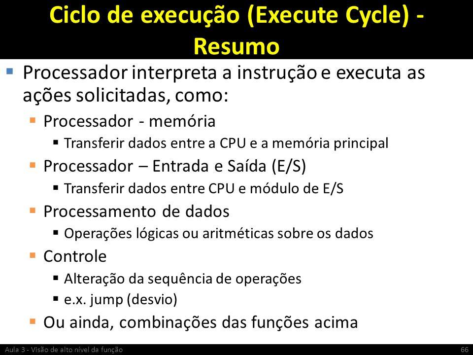 Ciclo de execução (Execute Cycle) - Resumo Processador interpreta a instrução e executa as ações solicitadas, como: Processador - memória Transferir d