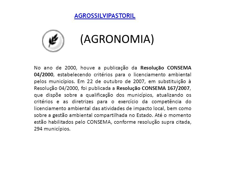 AGROSSILVIPASTORIL (AGRONOMIA) No ano de 2000, houve a publicação da Resolução CONSEMA 04/2000, estabelecendo critérios para o licenciamento ambiental pelos municípios.