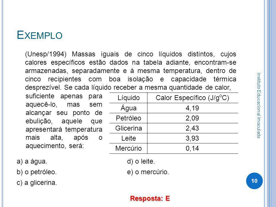 E XEMPLO (Unesp/1994) Massas iguais de cinco líquidos distintos, cujos calores específicos estão dados na tabela adiante, encontram-se armazenadas, se