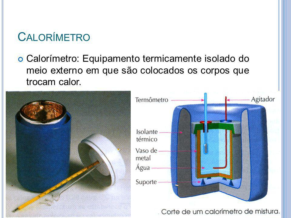 C ALORÍMETRO Calorímetro: Equipamento termicamente isolado do meio externo em que são colocados os corpos que trocam calor. 17