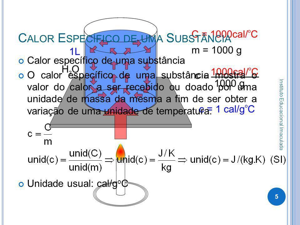 T ABELA DE VALORES DE C ALORES E SPECÍFICOS 6 Instituto Educacional Imaculada Calor Específico Substânciacal/g.