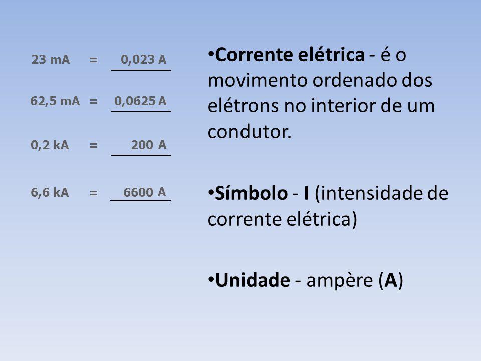 Unidade de medida da corrente elétrica Múltiplos e submúltiplos Para valores elevados, utilizamos os múltiplos e para valores muito baixos, os submúlt
