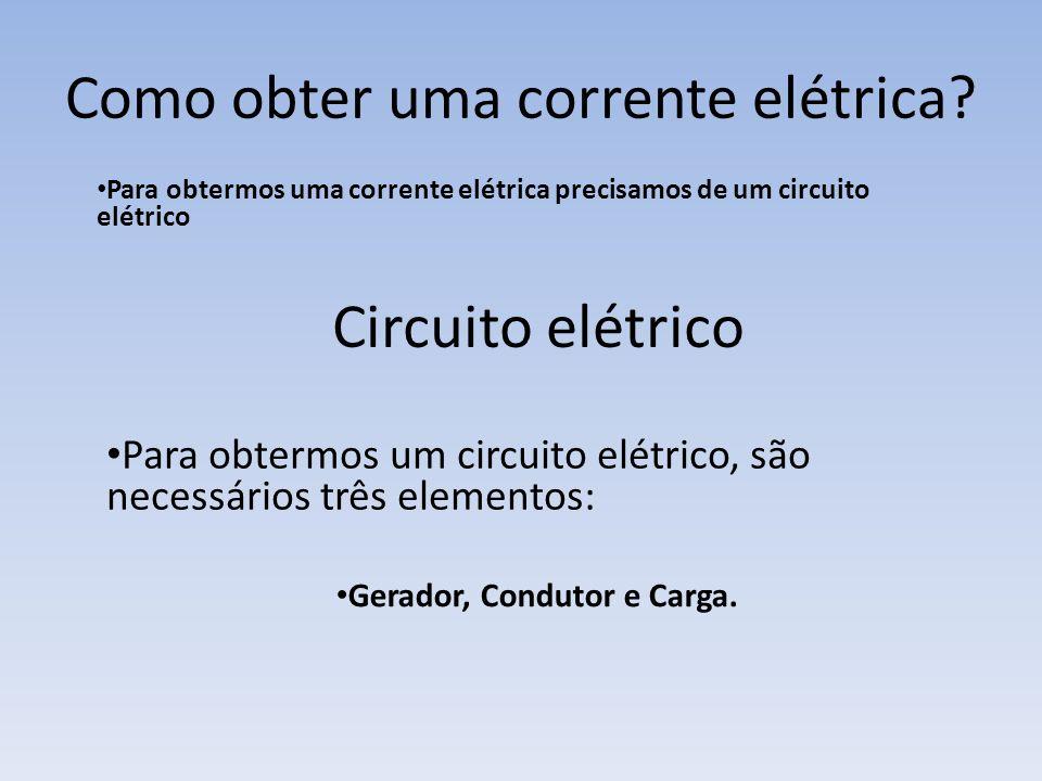 0,023 0,0625 200 6600 =23 mAA =62,5 mAA =0,2 kA A =6,6 kA A Corrente elétrica - é o movimento ordenado dos elétrons no interior de um condutor. Símbol