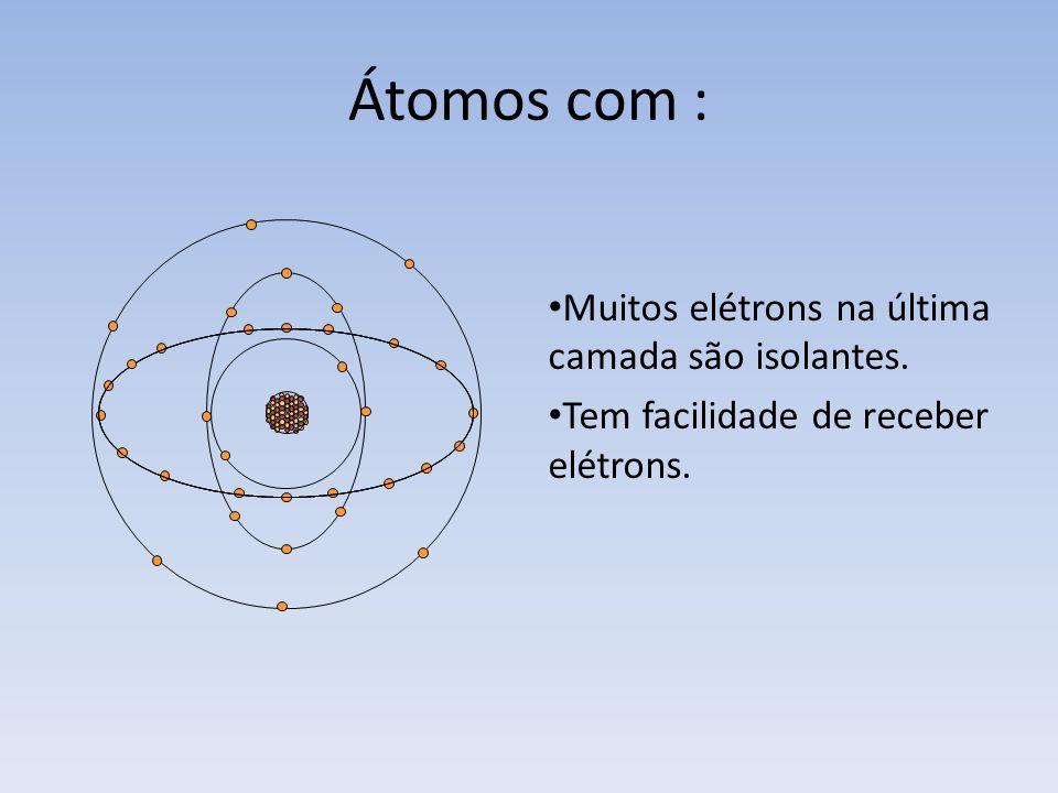 Um átomo possui várias órbitas, cada órbita contém uma quantidade de elétrons. Átomos com : Poucos elétrons na última camada são condutores. Têm facil