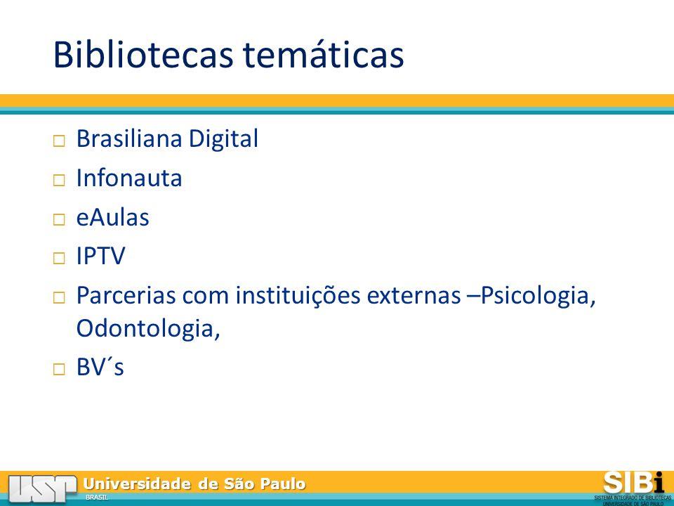 Universidade de São Paulo BRASIL Bibliotecas temáticas Brasiliana Digital Infonauta eAulas IPTV Parcerias com instituições externas –Psicologia, Odontologia, BV´s