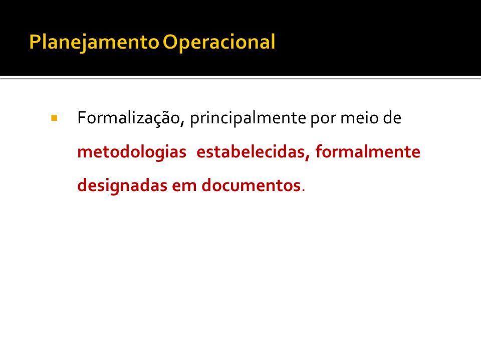 Formalização, principalmente por meio de metodologias estabelecidas, formalmente designadas em documentos.