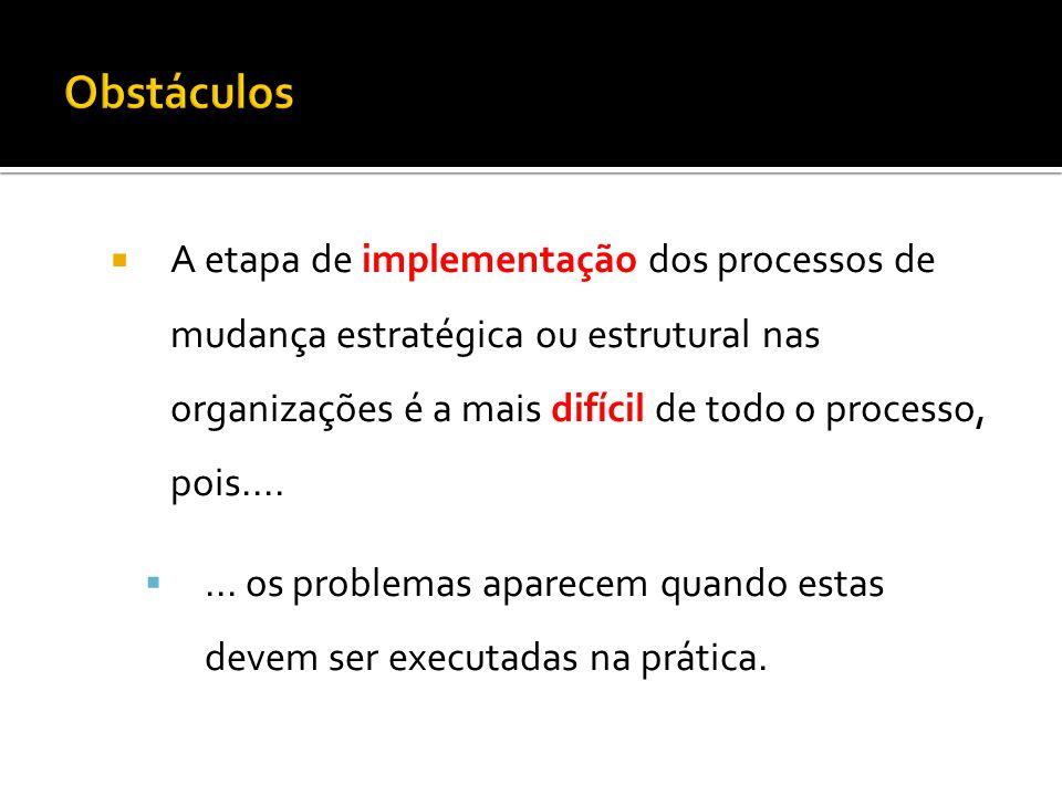 A etapa de implementação dos processos de mudança estratégica ou estrutural nas organizações é a mais difícil de todo o processo, pois....... os probl