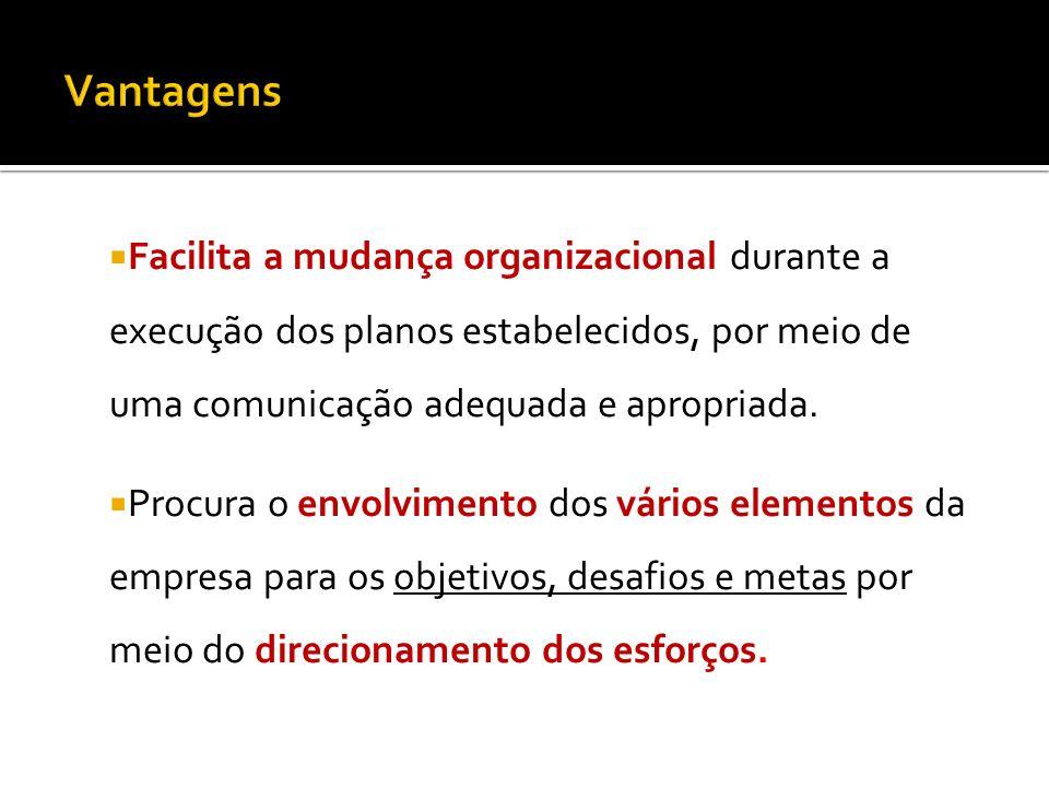 Facilita a mudança organizacional durante a execução dos planos estabelecidos, por meio de uma comunicação adequada e apropriada. Procura o envolvimen