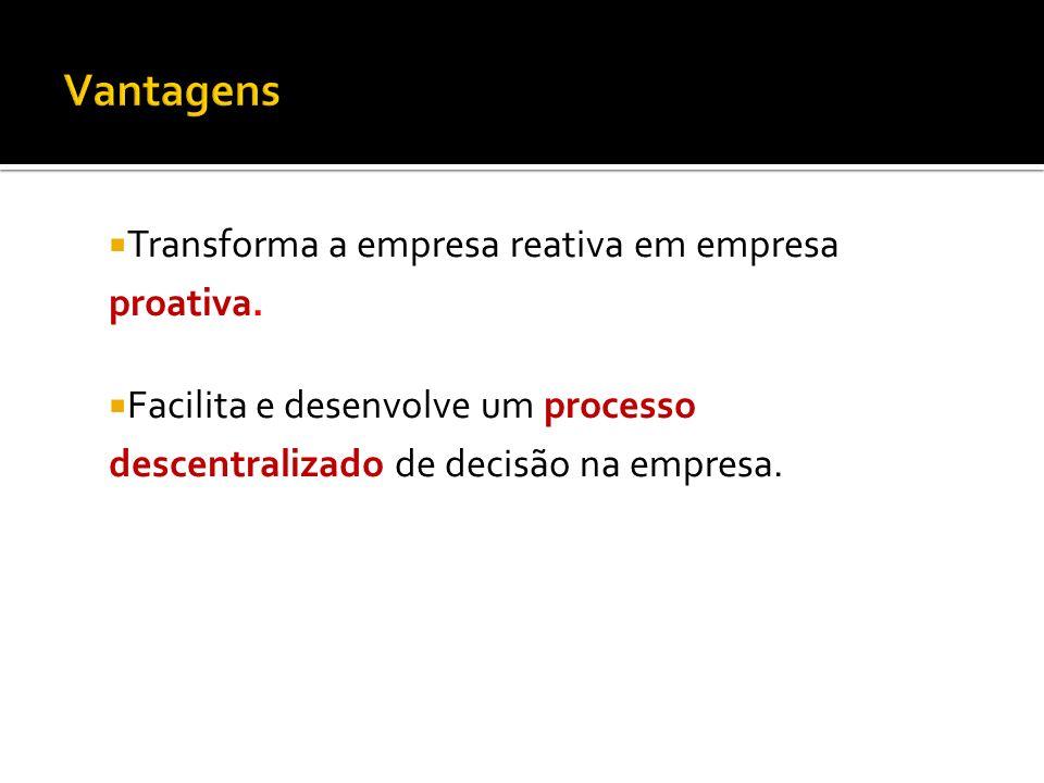 Transforma a empresa reativa em empresa proativa. Facilita e desenvolve um processo descentralizado de decisão na empresa.
