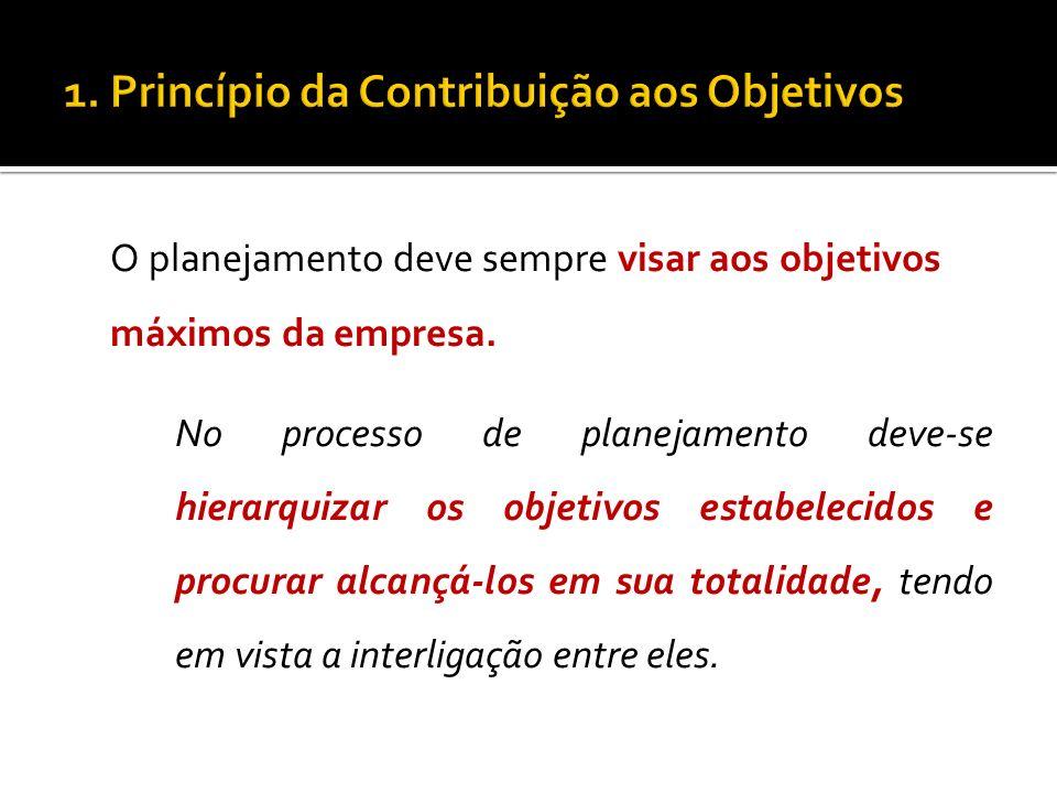 O planejamento deve sempre visar aos objetivos máximos da empresa. No processo de planejamento deve-se hierarquizar os objetivos estabelecidos e procu