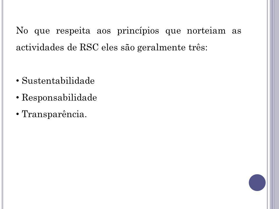 No que respeita aos princípios que norteiam as actividades de RSC eles são geralmente três: Sustentabilidade Responsabilidade Transparência.