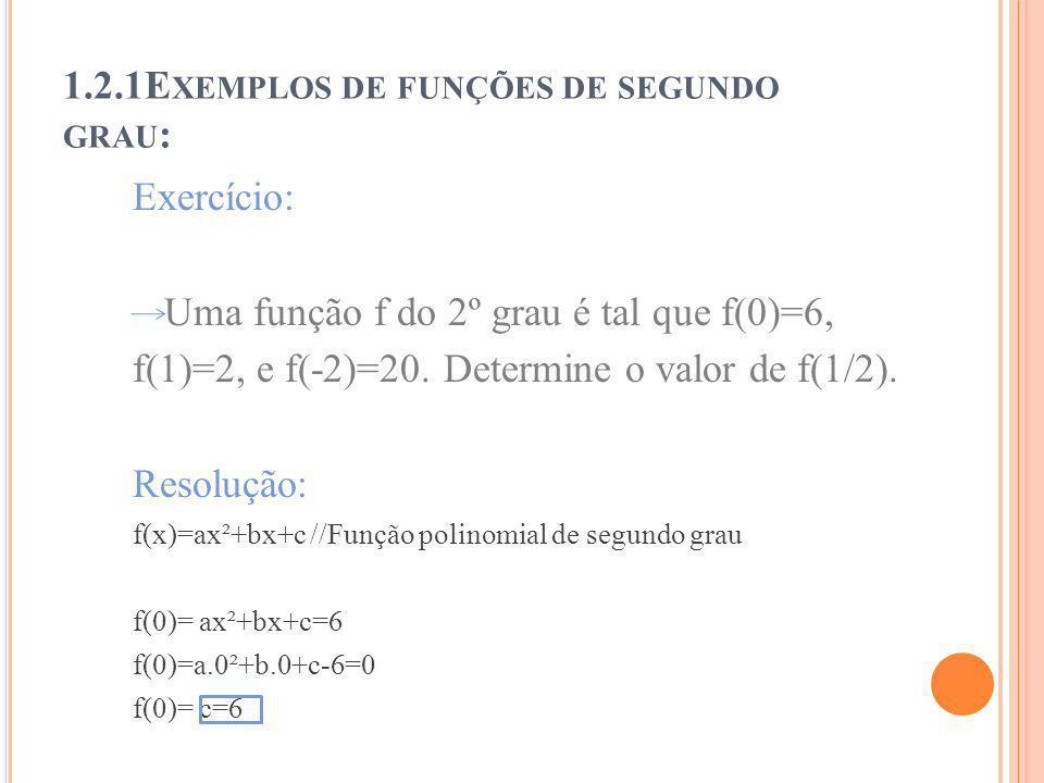 1.2.1E XEMPLOS DE FUNÇÕES DE SEGUNDO GRAU : Exercício: Uma função f do 2º grau é tal que f(0)=6, f(1)=2, e f(-2)=20. Determine o valor de f(1/2). Reso