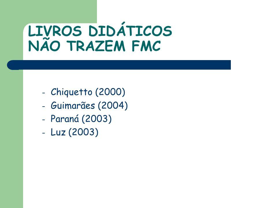 LIVROS DIDÁTICOS NÃO TRAZEM FMC – Chiquetto (2000) – Guimarães (2004) – Paraná (2003) – Luz (2003)