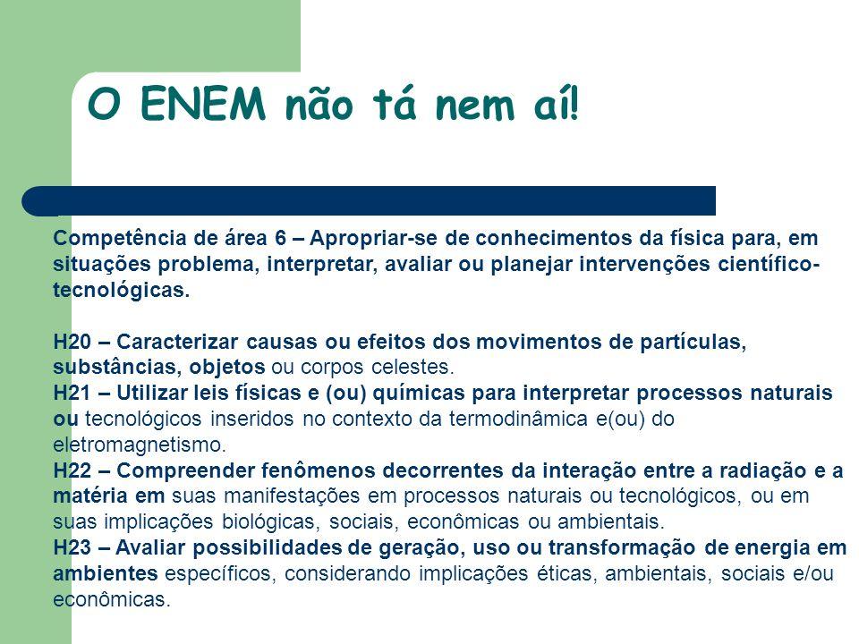 Competência de área 6 – Apropriar-se de conhecimentos da física para, em situações problema, interpretar, avaliar ou planejar intervenções científico- tecnológicas.