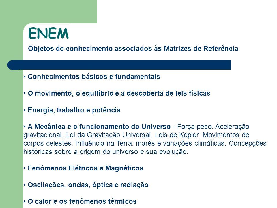 Objetos de conhecimento associados às Matrizes de Referência ENEM Conhecimentos básicos e fundamentais O movimento, o equilíbrio e a descoberta de leis físicas Energia, trabalho e potência A Mecânica e o funcionamento do Universo - Força peso.