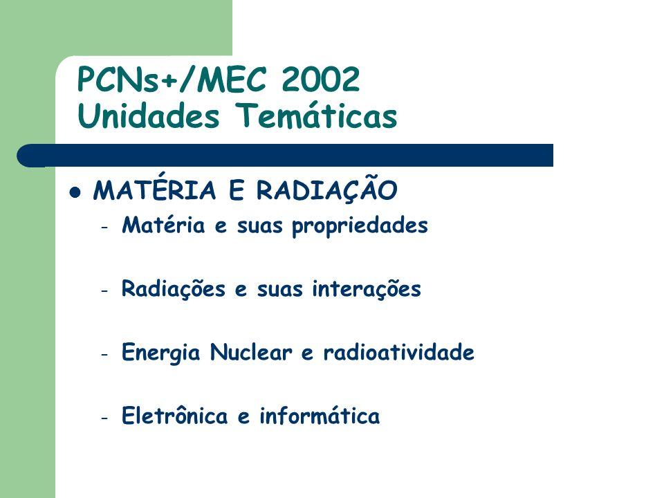 PCNs+/MEC 2002 Unidades Temáticas MATÉRIA E RADIAÇÃO – Matéria e suas propriedades – Radiações e suas interações – Energia Nuclear e radioatividade – Eletrônica e informática