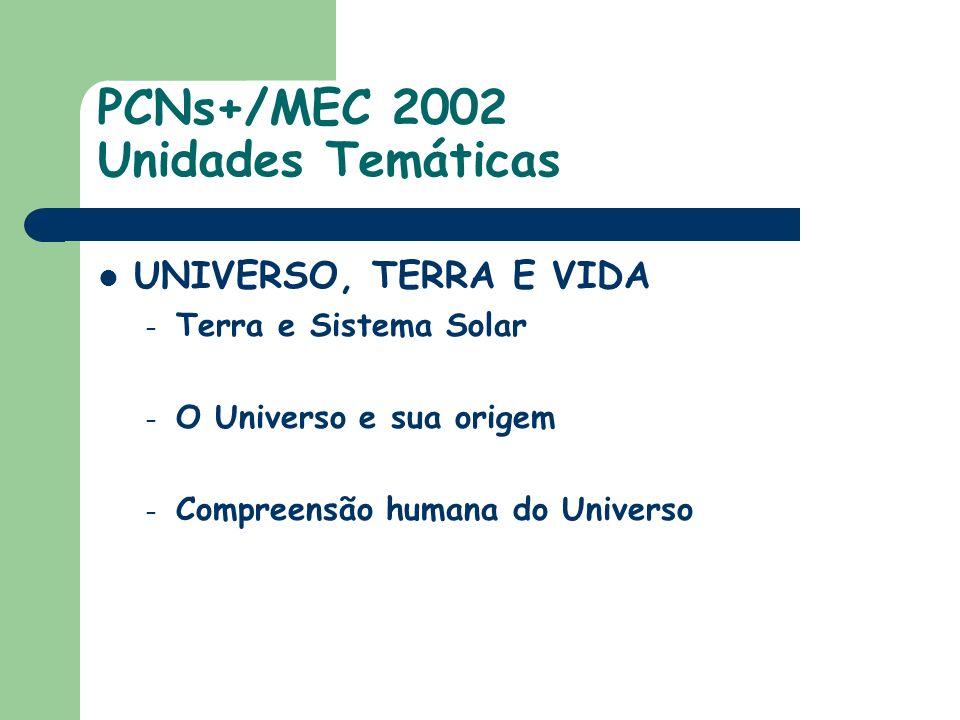 PCNs+/MEC 2002 Unidades Temáticas UNIVERSO, TERRA E VIDA – Terra e Sistema Solar – O Universo e sua origem – Compreensão humana do Universo