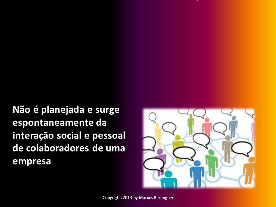 Estruturas: Informal Não é planejada e surge espontaneamente da interação social e pessoal de colaboradores de uma empresa Copyright, 2013 by Marcos B