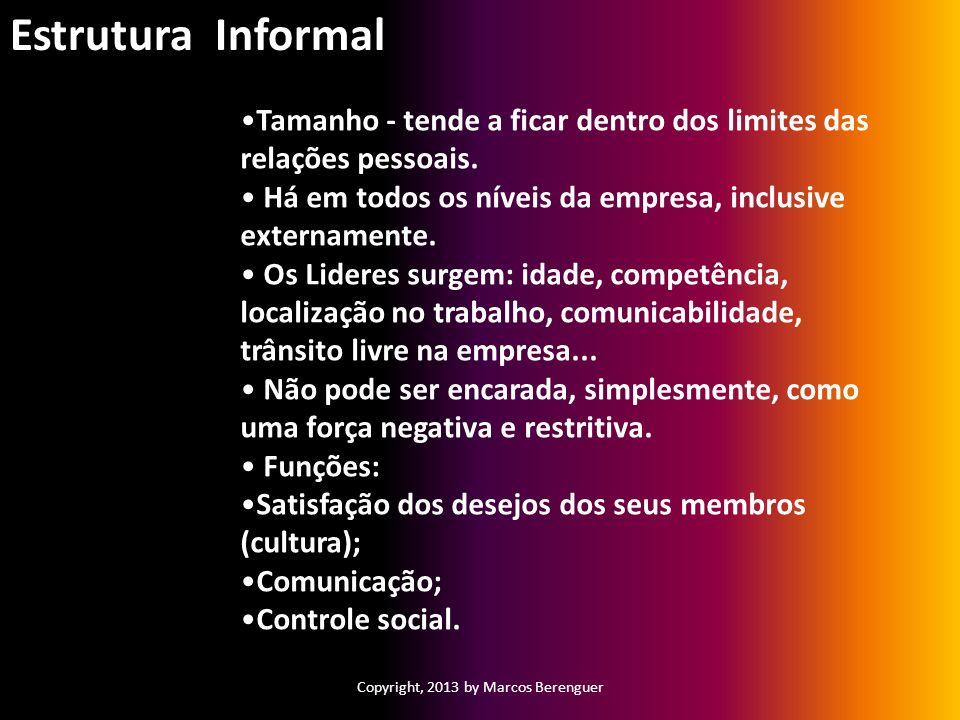 Copyright, 2013 by Marcos Berenguer Tamanho - tende a ficar dentro dos limites das relações pessoais. Há em todos os níveis da empresa, inclusive exte