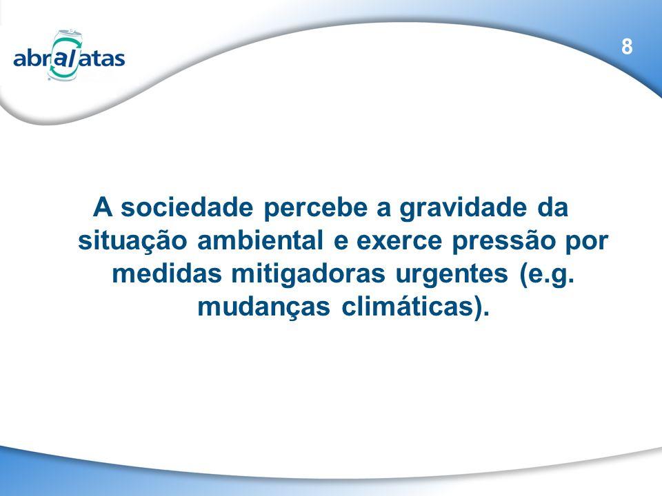 A sociedade percebe a gravidade da situação ambiental e exerce pressão por medidas mitigadoras urgentes (e.g. mudanças climáticas). 8