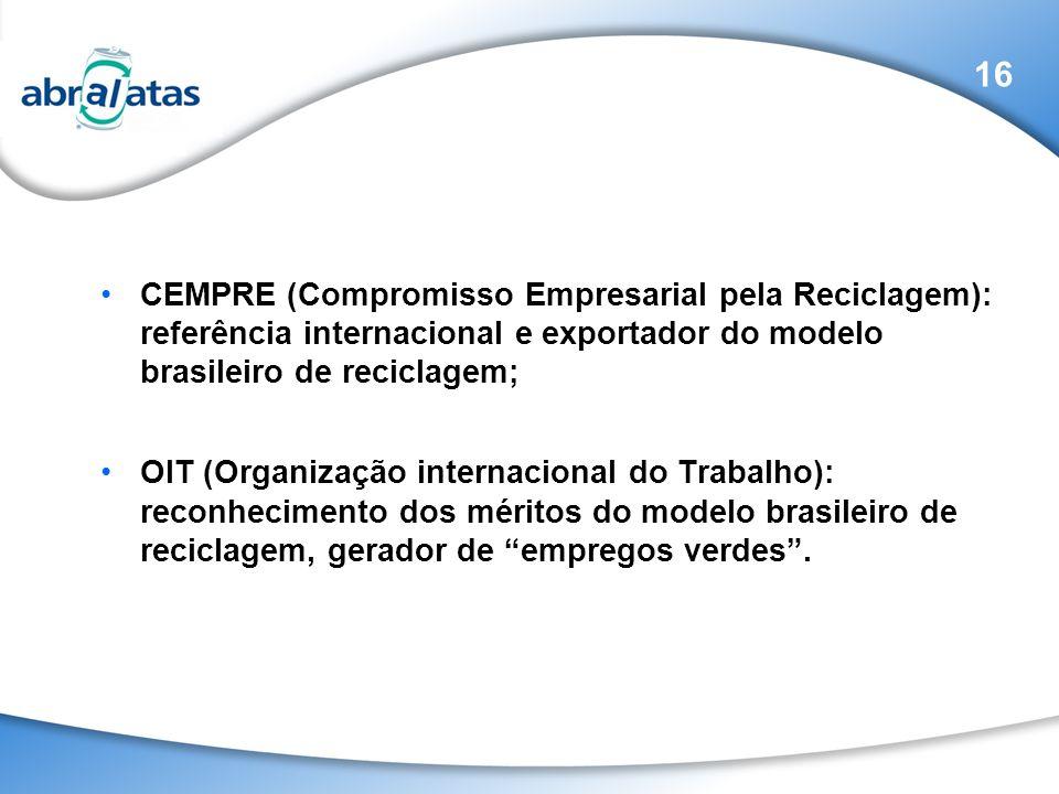 CEMPRE (Compromisso Empresarial pela Reciclagem): referência internacional e exportador do modelo brasileiro de reciclagem; OIT (Organização internaci