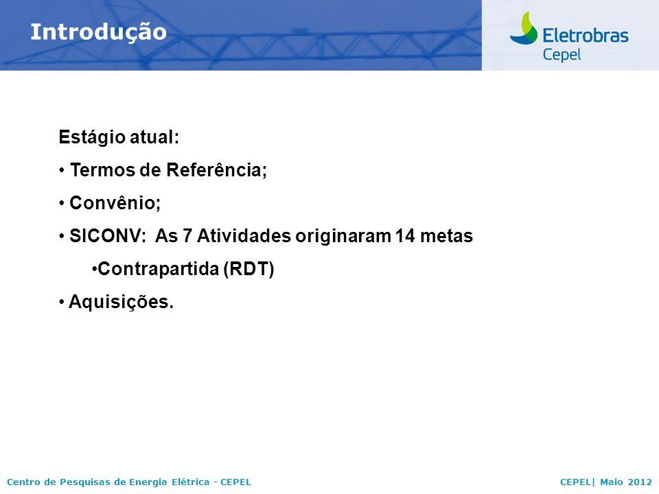 Centro de Pesquisas de Energia Elétrica - CEPELCEPEL| Maio 2012 Introdução Estágio atual: Termos de Referência; Convênio; SICONV: As 7 Atividades orig
