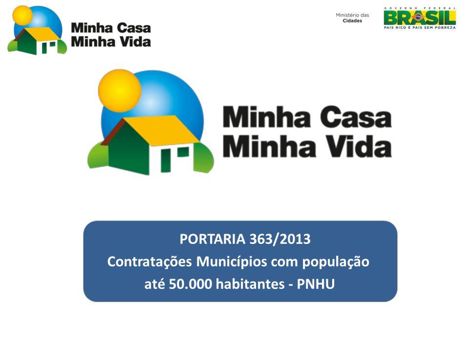 PORTARIA 363/2013 Contratações Municípios com população até 50.000 habitantes - PNHU