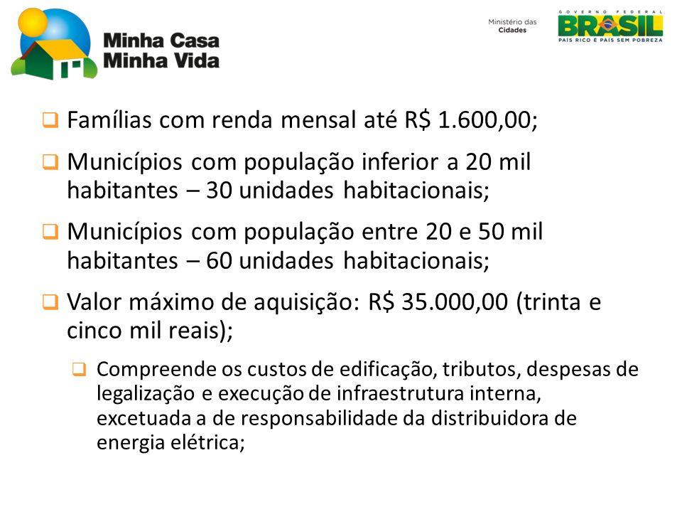 Famílias com renda mensal até R$ 1.600,00; Municípios com população inferior a 20 mil habitantes – 30 unidades habitacionais; Municípios com população