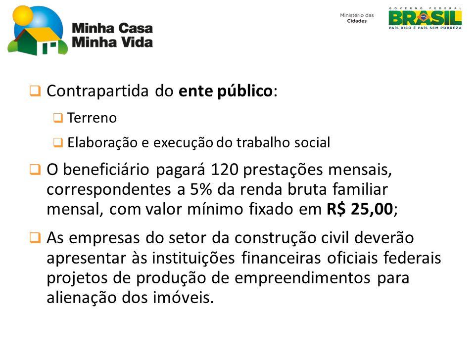 Contrapartida do ente público: Terreno Elaboração e execução do trabalho social O beneficiário pagará 120 prestações mensais, correspondentes a 5% da