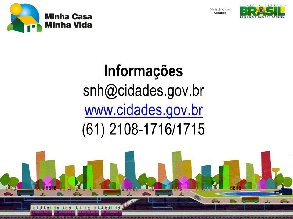 Informações snh@cidades.gov.br www.cidades.gov.br (61) 2108-1716/1715
