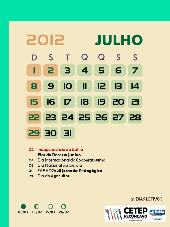 02Independência da Bahia Fim do Recesso Junino 04Dia Internacional do Cooperativismo 08Dia Nacional da Ciência 21 SÁBADO: 2ª Jornada Pedagógica 28Dia do Agricultor 21 DIAS LETIVOS