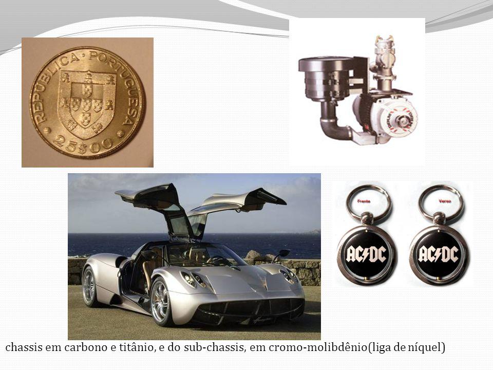 chassis em carbono e titânio, e do sub-chassis, em cromo-molibdênio(liga de níquel)