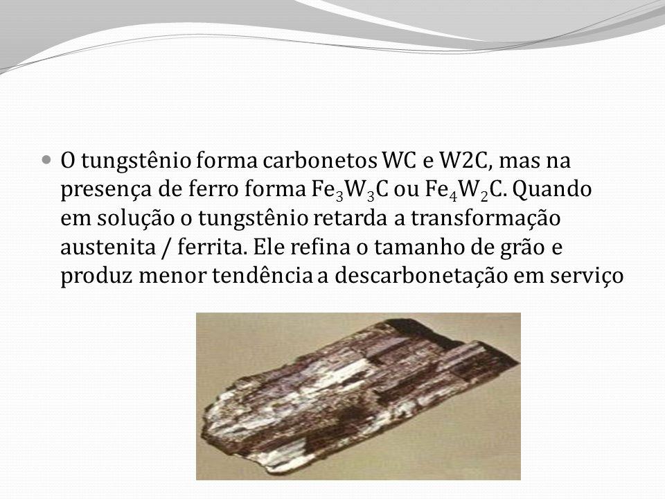 O tungstênio forma carbonetos WC e W2C, mas na presença de ferro forma Fe 3 W 3 C ou Fe 4 W 2 C.