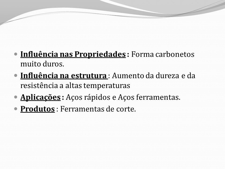 Influência nas Propriedades : Forma carbonetos muito duros.