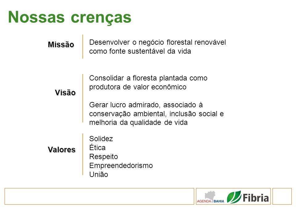 Nossas crenças Missão Desenvolver o negócio florestal renovável como fonte sustentável da vida Visão Consolidar a floresta plantada como produtora de