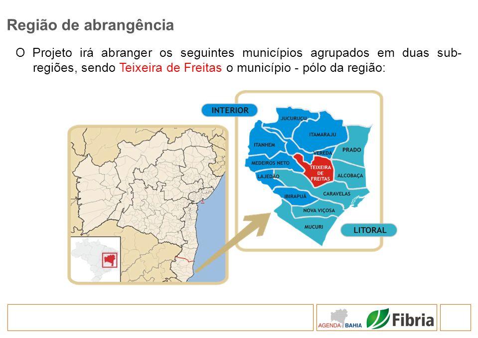 O Projeto irá abranger os seguintes municípios agrupados em duas sub- regiões, sendo Teixeira de Freitas o município - pólo da região: Região de abran