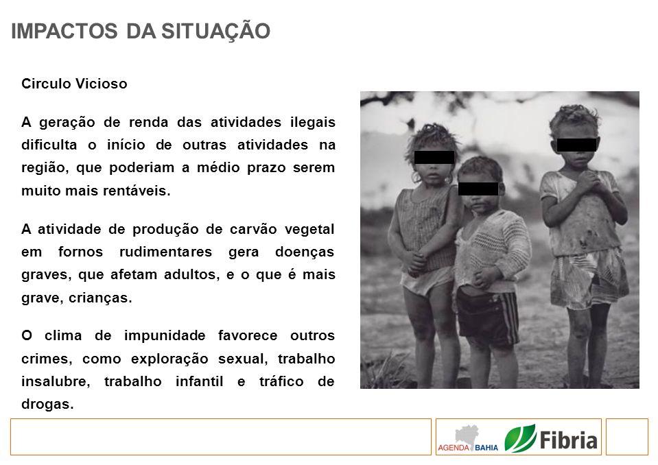 IMPACTOS DA SITUAÇÃO Circulo Vicioso A geração de renda das atividades ilegais dificulta o início de outras atividades na região, que poderiam a médio