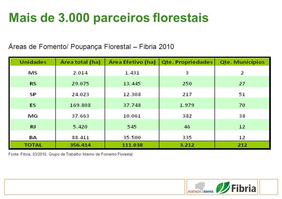 Mais de 3.000 parceiros florestais Fonte: Fibria, 03/2010, Grupo de Trabalho Interno de Fomento Florestal Áreas de Fomento/ Poupança Florestal – Fibri