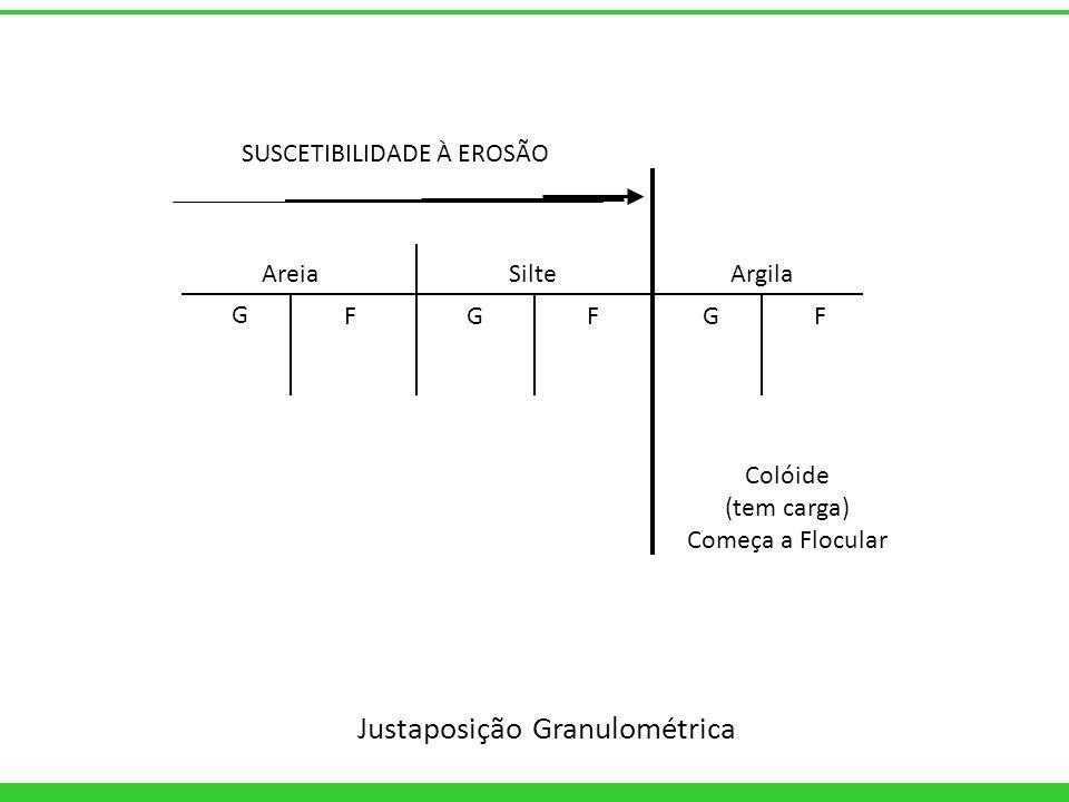 SUSCETIBILIDADE À EROSÃO AreiaSilte Argila G GGFFF Colóide (tem carga) Começa a Flocular Justaposição Granulométrica
