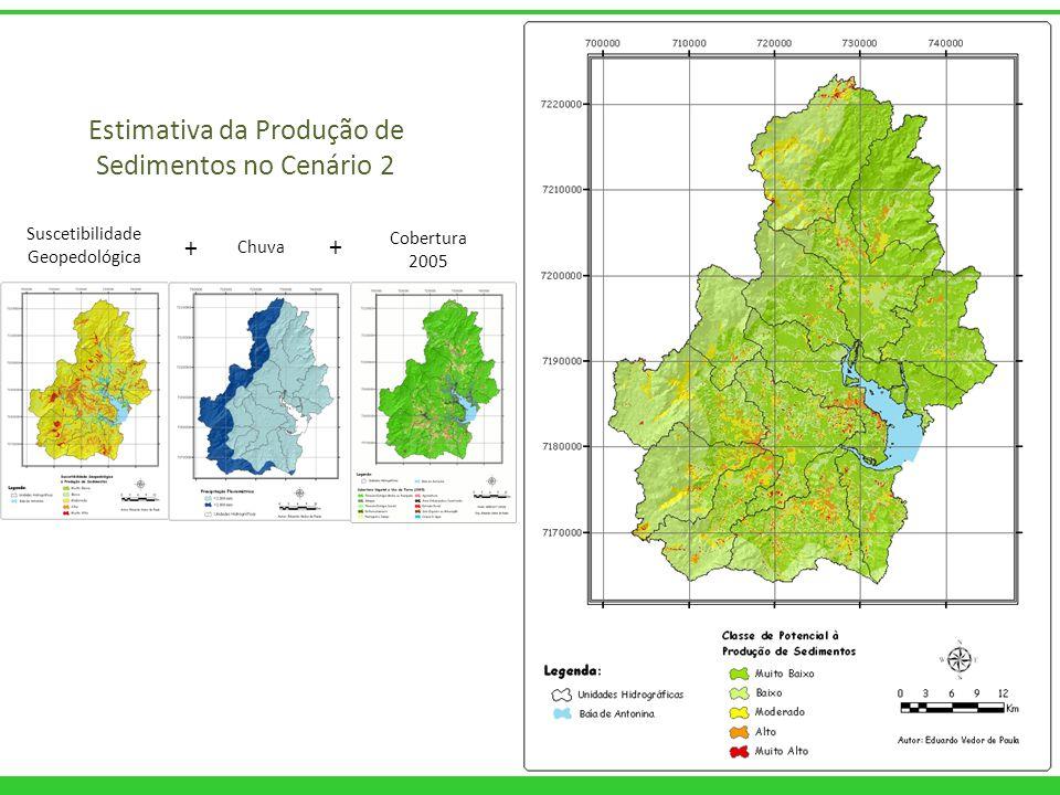 Estimativa da Produção de Sedimentos no Cenário 2 Suscetibilidade Geopedológica Chuva Cobertura 2005 + +