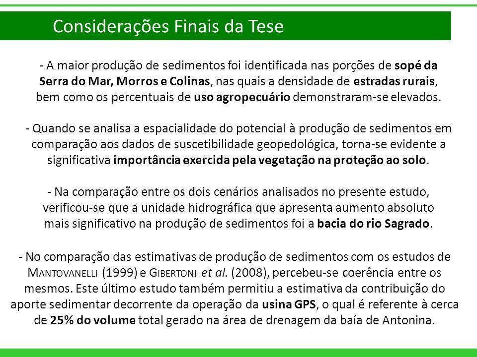 - A maior produção de sedimentos foi identificada nas porções de sopé da Serra do Mar, Morros e Colinas, nas quais a densidade de estradas rurais, bem