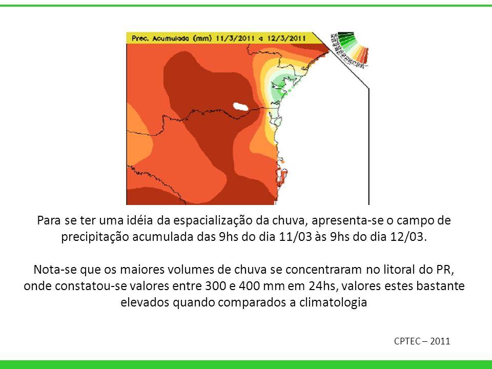 Para se ter uma idéia da espacialização da chuva, apresenta-se o campo de precipitação acumulada das 9hs do dia 11/03 às 9hs do dia 12/03. Nota-se que