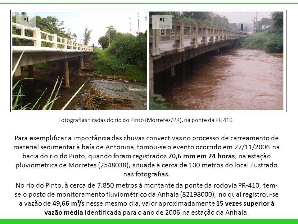A) B) Para exemplificar a importância das chuvas convectivas no processo de carreamento de material sedimentar à baía de Antonina, tomou-se o evento o