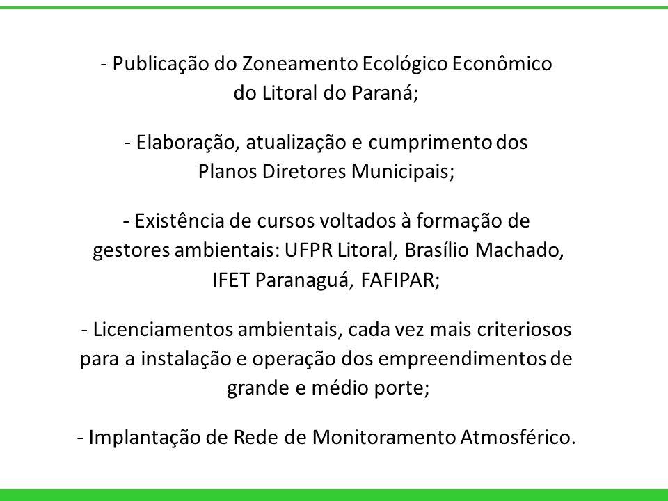 - Publicação do Zoneamento Ecológico Econômico do Litoral do Paraná; - Elaboração, atualização e cumprimento dos Planos Diretores Municipais; - Existê