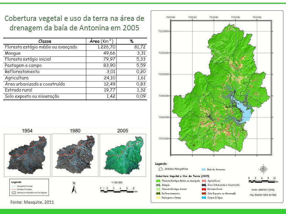 ClasseÁrea (Km²)% Floresta estágio médio ou avançado1.226,7081,72 Mangue49,663,31 Floresta estágio inicial79,975,33 Pastagem e campo83,905,59 Reflores