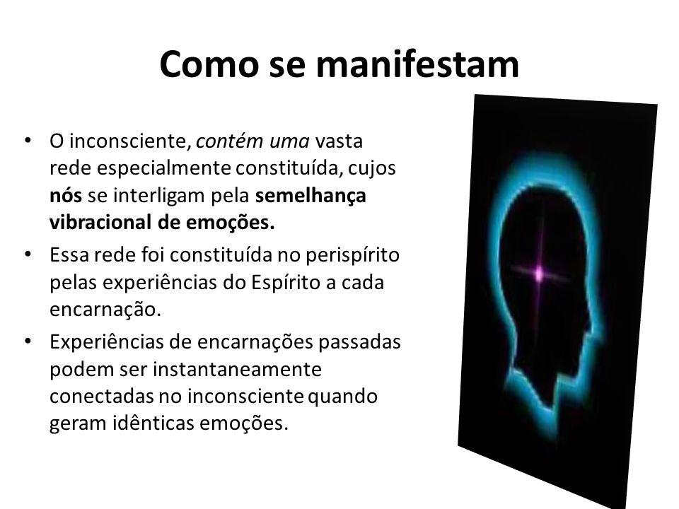 Como se manifestam O inconsciente, contém uma vasta rede especialmente constituída, cujos nós se interligam pela semelhança vibracional de emoções. Es