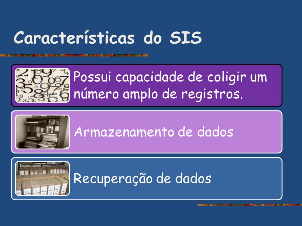 Características do SIS Possui capacidade de coligir um número amplo de registros. Armazenamento de dados Recuperação de dados