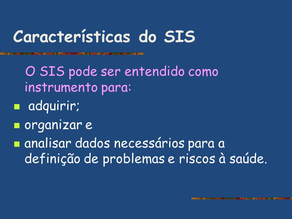 Características do SIS O SIS pode ser entendido como instrumento para: adquirir; organizar e analisar dados necessários para a definição de problemas