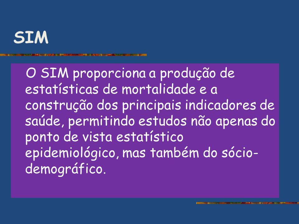 SIM O SIM proporciona a produção de estatísticas de mortalidade e a construção dos principais indicadores de saúde, permitindo estudos não apenas do p