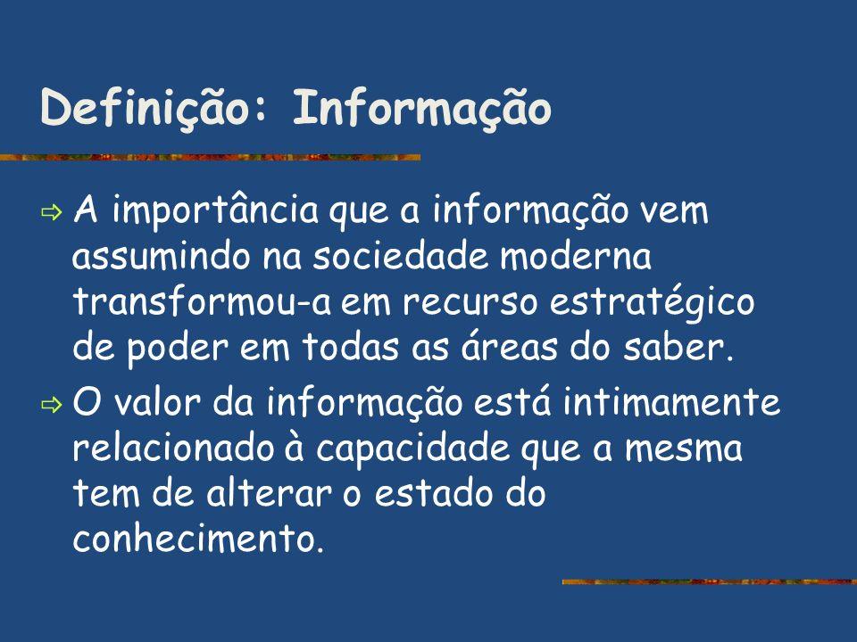 Definição: Informação A importância que a informação vem assumindo na sociedade moderna transformou-a em recurso estratégico de poder em todas as área